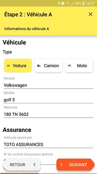 Informations du véhicule A